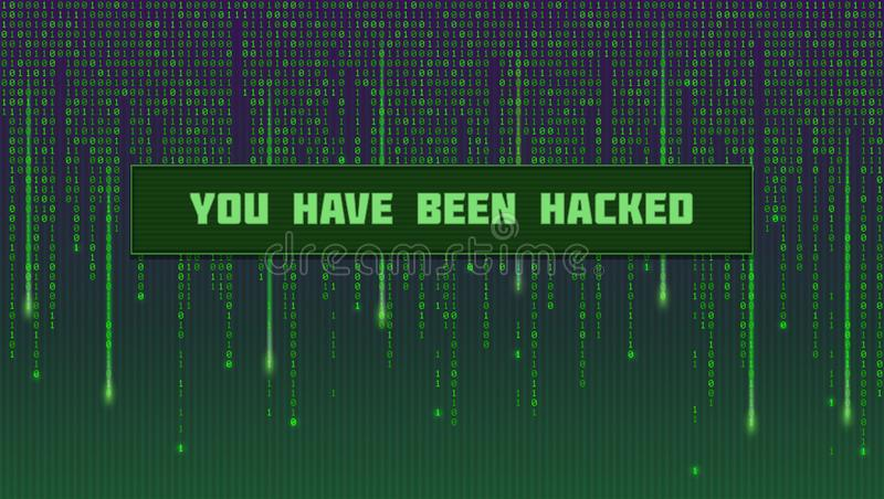 Screen with binary computer code. Code listing like in matrix with message you have been hacking. Template for concept stock illustration