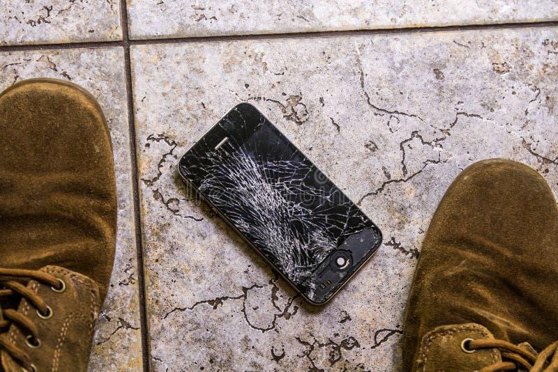 Screen broken smartphone stock images