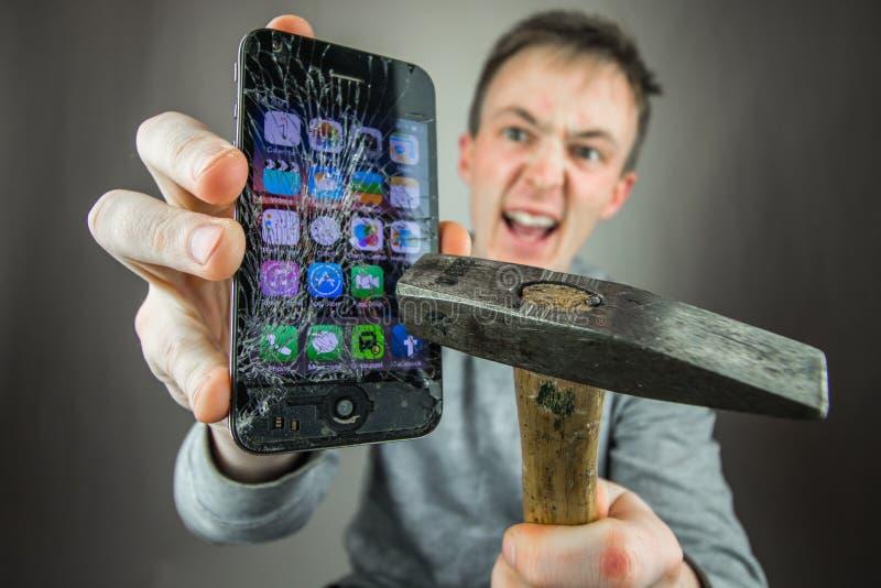 Screen broken smartphone stock photo