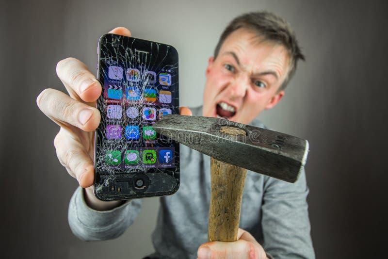 Screen broken smartphone stock image