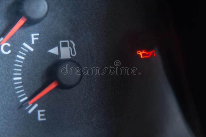 Screen display of car status warning light on dashboard panel symbols which show the fault indicators stock photos