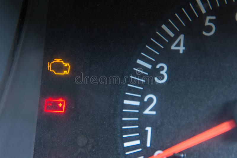 Screen display of car status warning light on dashboard panel symbols which show the fault indicators royalty free stock photography