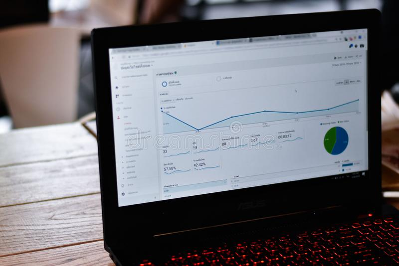 Screen display of website Analytics of traffic visitor. Worker checking traffic visitor on website by google analytics report stock photo