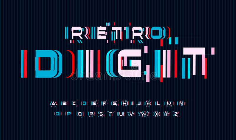 Screen glitches letters set. No signal or bad signal for vector alphabet. Led screen rgb error effect for font. Typography design vector illustration