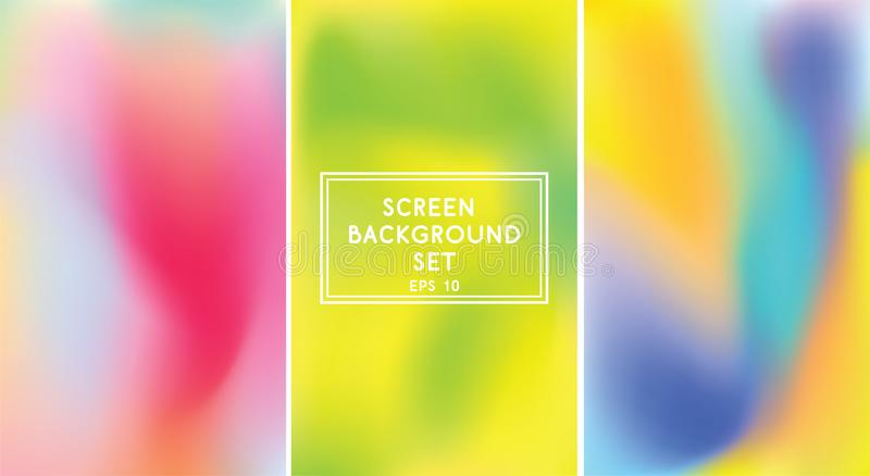 Screen gradient set with modern abstract backgrounds. Bright trendy colors. Template with screen gradient backgrounds for mobile apps and screens. Colourful stock illustration