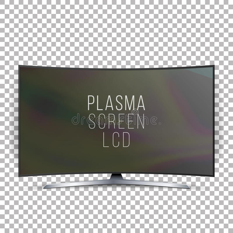 Screen Lcd Plasma Vector. Curved TV Modern Blank Led Screen Panel Isolated On White Background. Realistic Illustration stock illustration