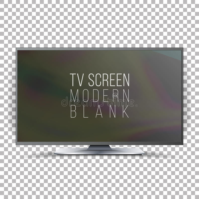Screen Lcd Plasma Vector. Realistic Flat Smart TV. Curved Television Modern Blank On Checkered Background stock illustration