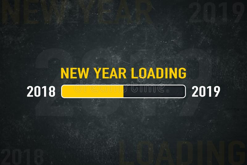 Screen 2019 loading. Loading bar 2018/2019: new year loading stock illustration