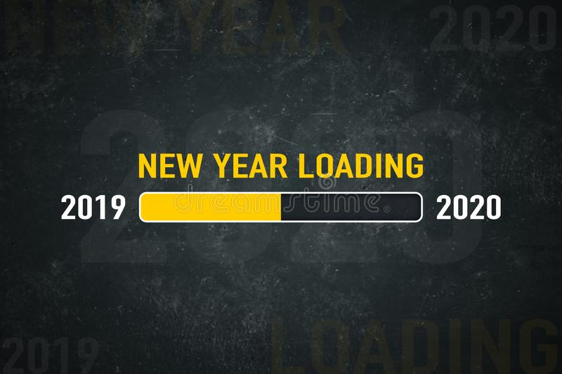 Screen 2020 loading. Loading bar 2019/2020: new year loading royalty free illustration