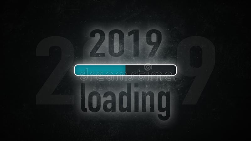Screen 2019 loading. Loading bar: 2019 loading on a dark background vector illustration