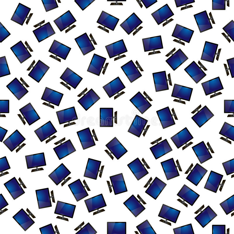 Screen Monitor Seamless Pattern. On White Background royalty free illustration