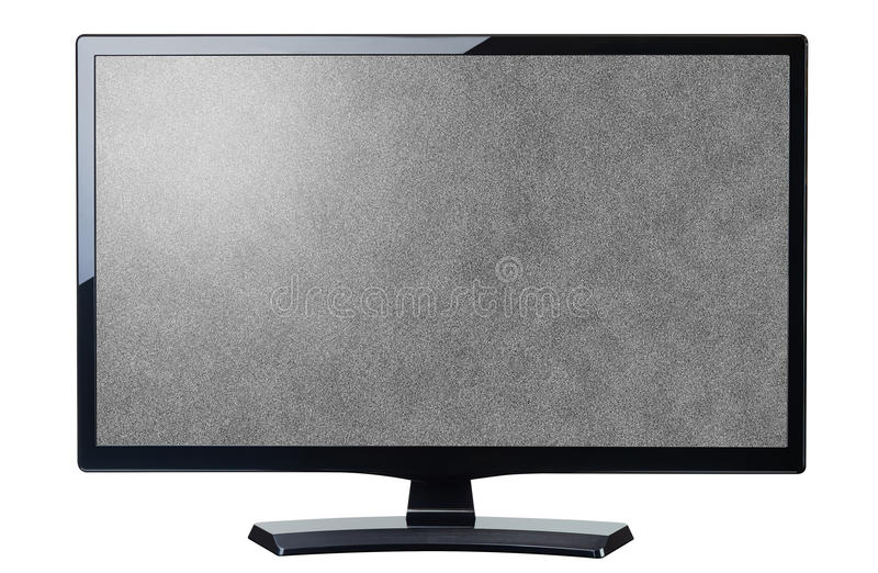 Screen monitor tv noisy video grain isolated. On white royalty free stock image