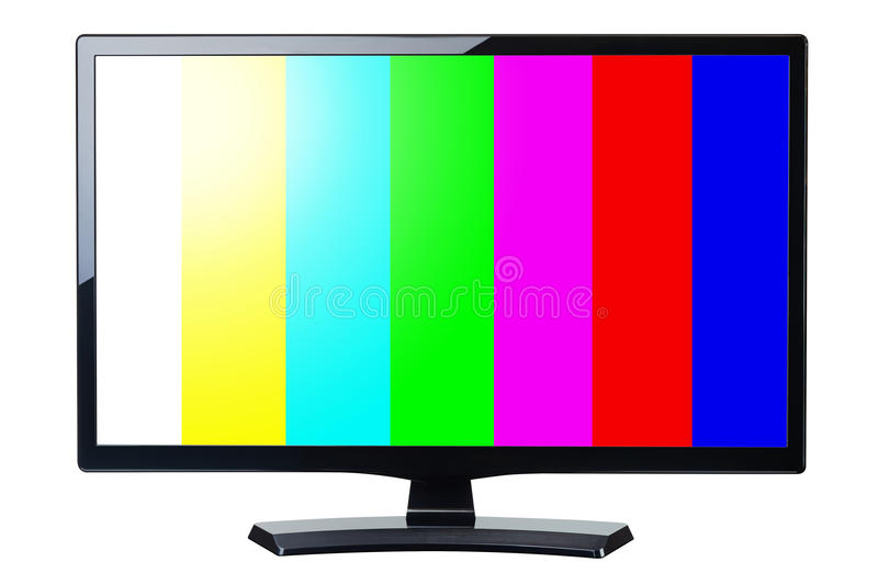 Screen monitor tv retro video with colorful bars isolated. On white stock images