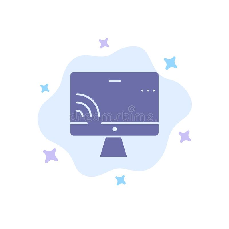 Screen, Monitor, Screen, Wifi Blue Icon on Abstract Cloud Background vector illustration