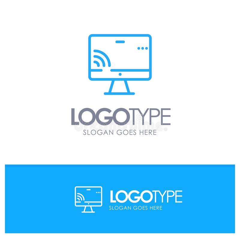 Screen, Monitor, Screen, Wifi Blue outLine Logo with place for tagline royalty free illustration