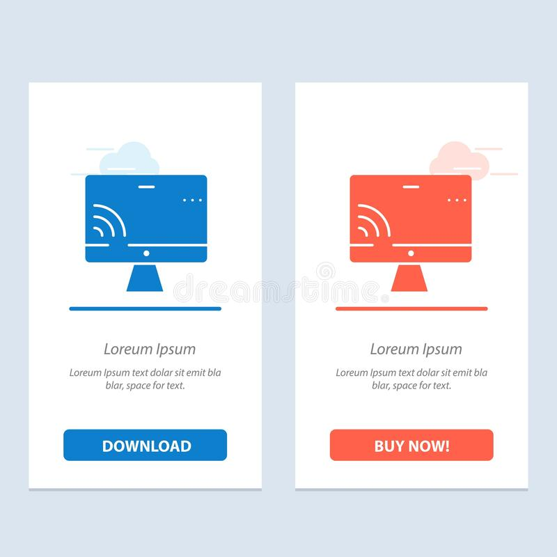 Screen, Monitor, Screen, Wifi  Blue and Red Download and Buy Now web Widget Card Template vector illustration