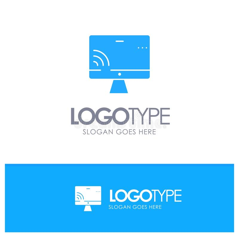 Screen, Monitor, Screen, Wifi Blue Solid Logo with place for tagline stock illustration