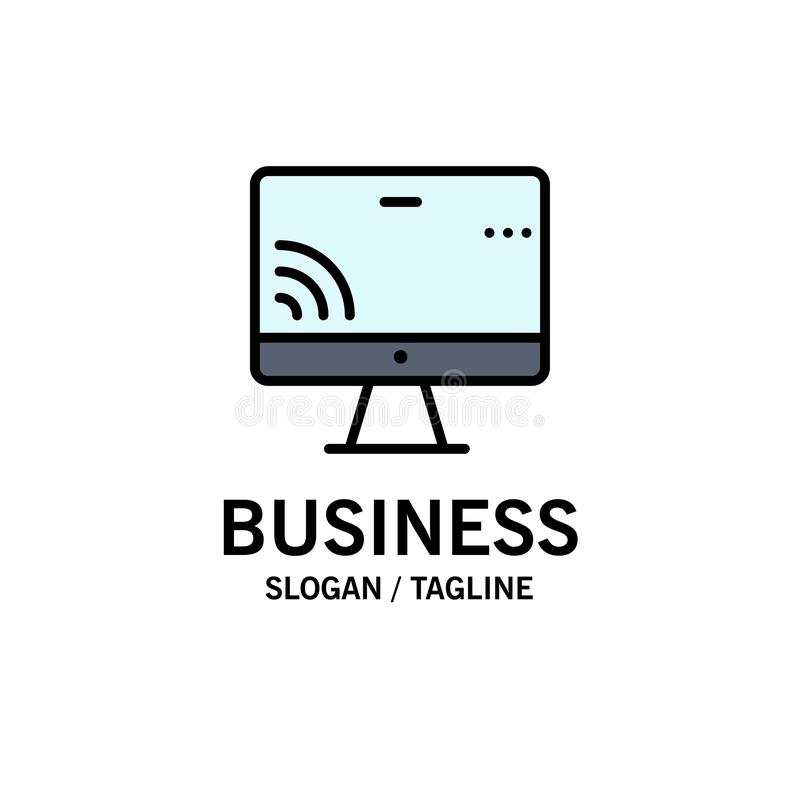 Screen, Monitor, Screen, Wifi Business Logo Template. Flat Color vector illustration