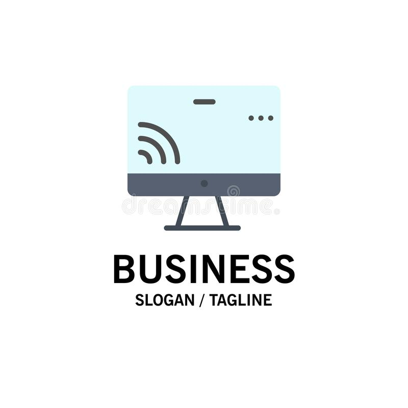 Screen, Monitor, Screen, Wifi Business Logo Template. Flat Color royalty free illustration