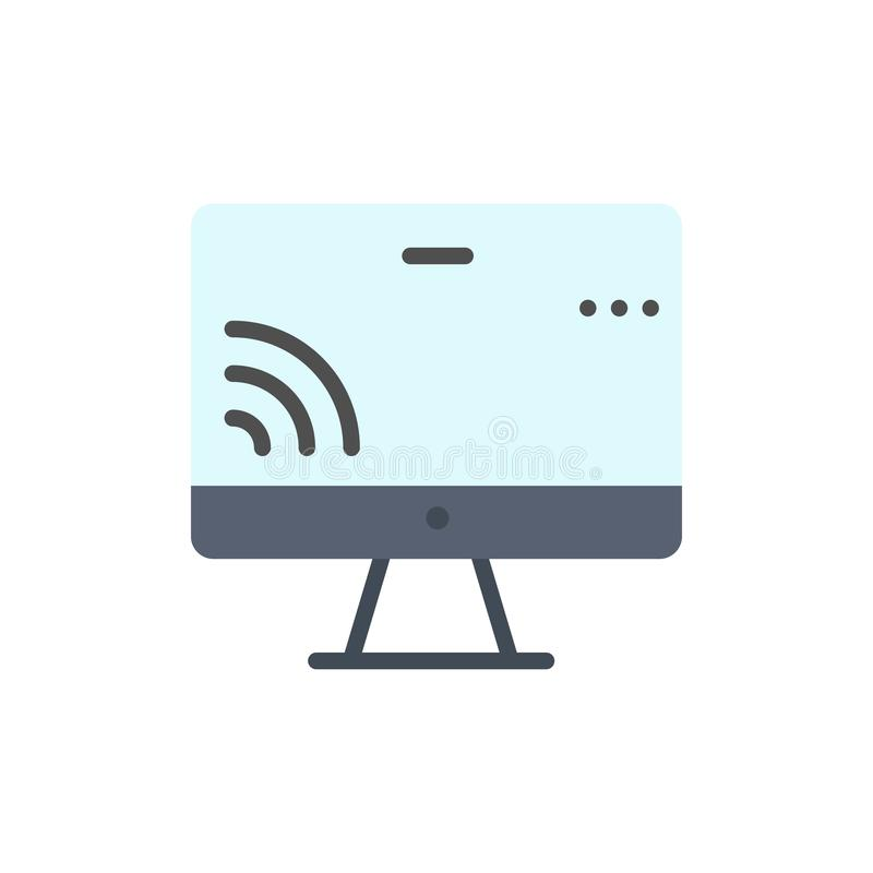 Screen, Monitor, Screen, Wifi  Flat Color Icon. Vector icon banner Template royalty free illustration