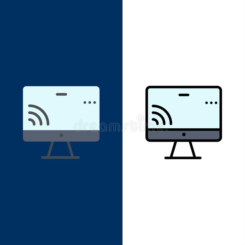 Screen, Monitor, Screen, Wifi  Icons. Flat and Line Filled Icon Set Vector Blue Background royalty free illustration