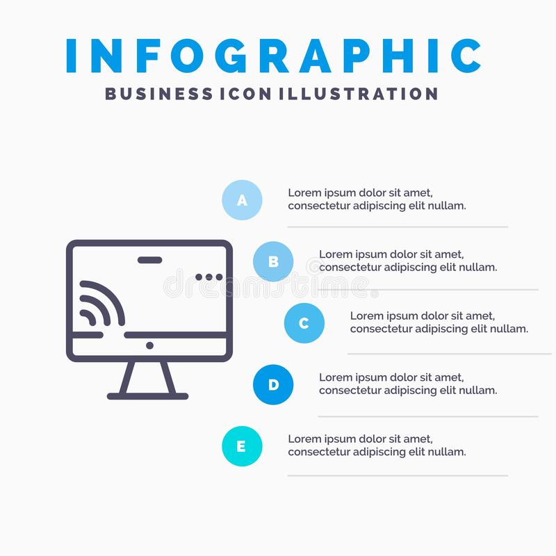 Screen, Monitor, Screen, Wifi Line icon with 5 steps presentation infographics Background royalty free illustration