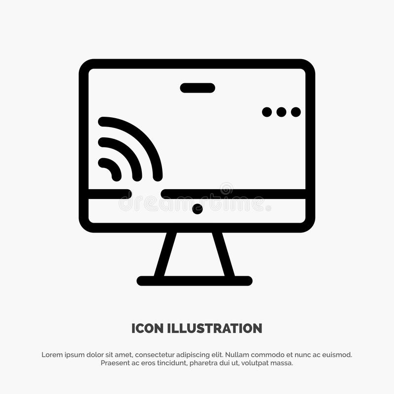 Screen, Monitor, Screen, Wifi Line Icon Vector royalty free illustration