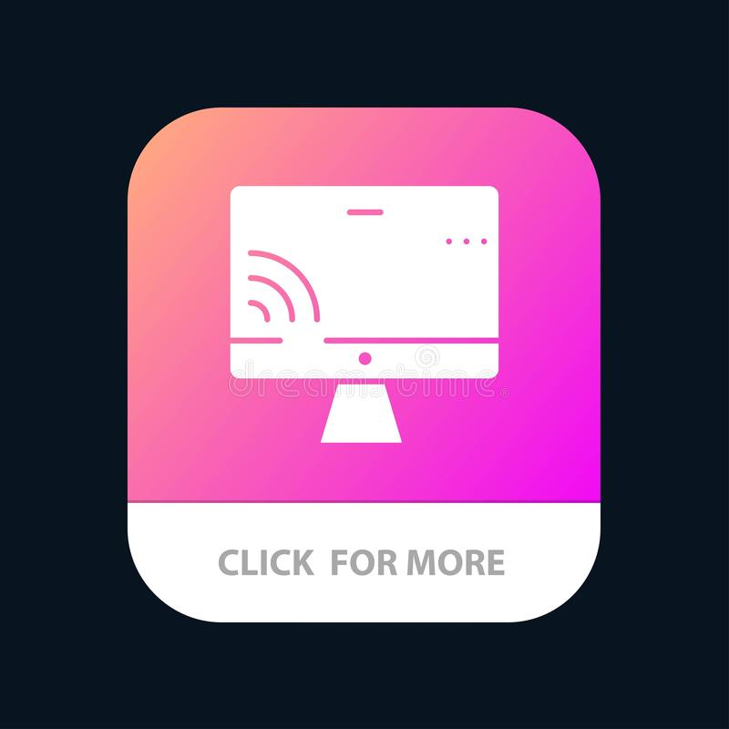 Screen, Monitor, Screen, Wifi Mobile App Button. Android and IOS Glyph Version stock illustration
