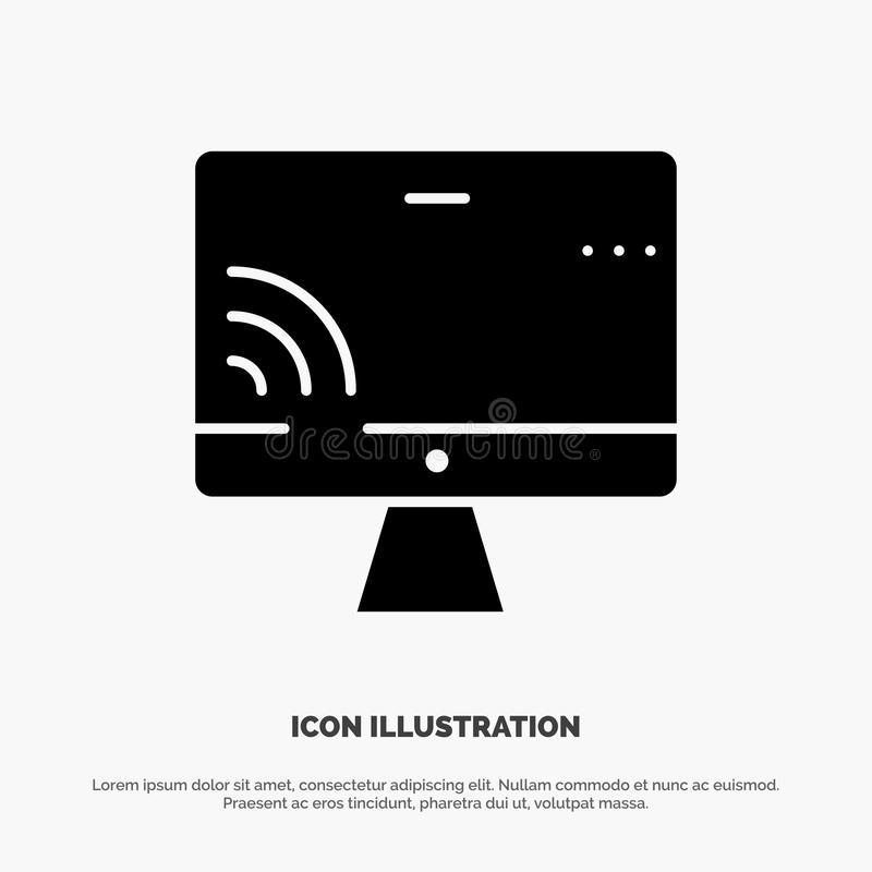 Screen, Monitor, Screen, Wifi solid Glyph Icon vector royalty free illustration