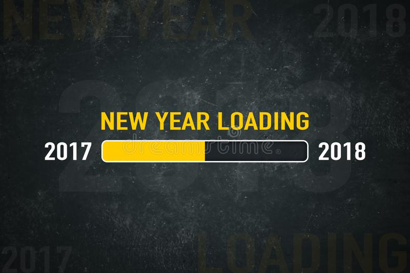 Screen new year loading 2018. Loading bar 2018: new year loading on a dark background royalty free illustration
