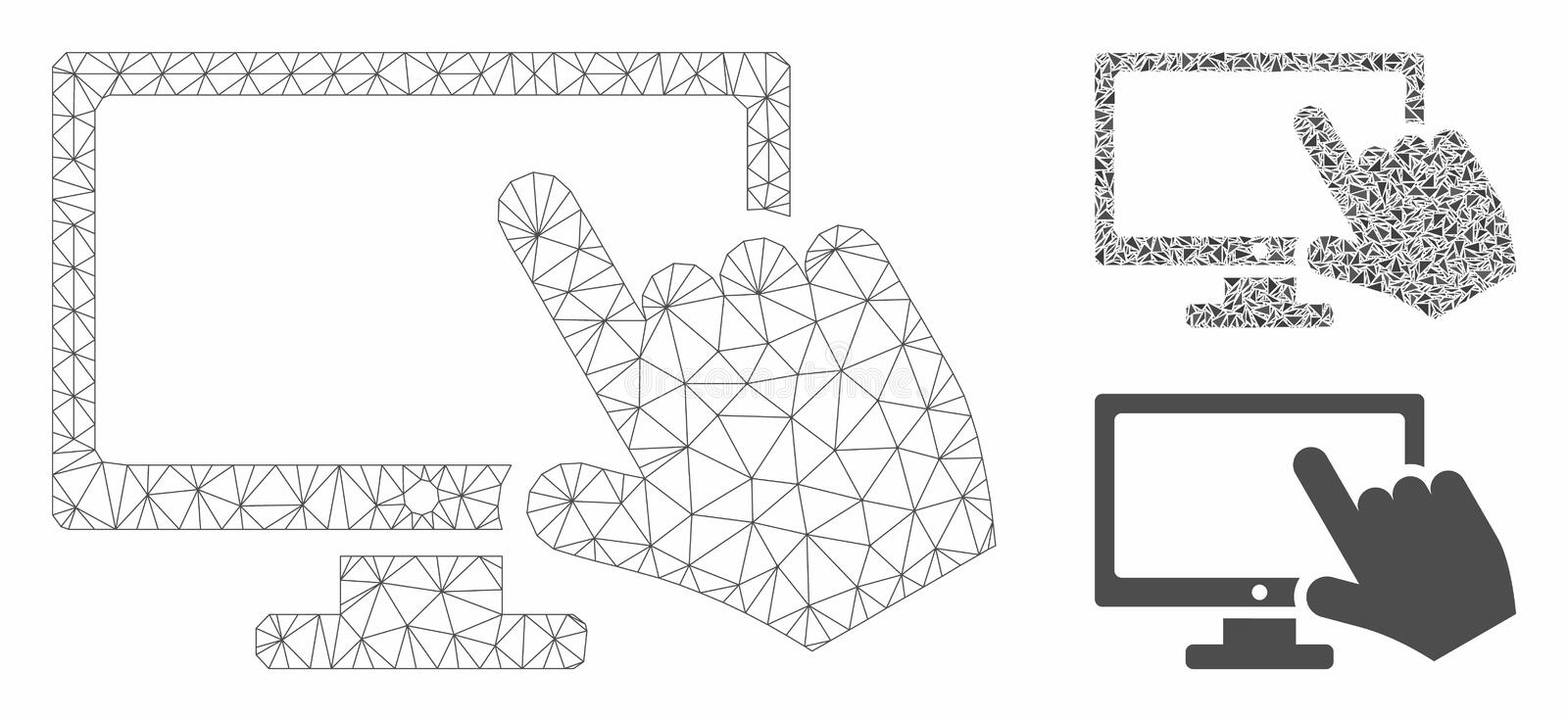 Screen Point Vector Mesh Carcass Model and Triangle Mosaic Icon. Mesh screen point model with triangle mosaic icon. Wire carcass triangular mesh of screen point vector illustration