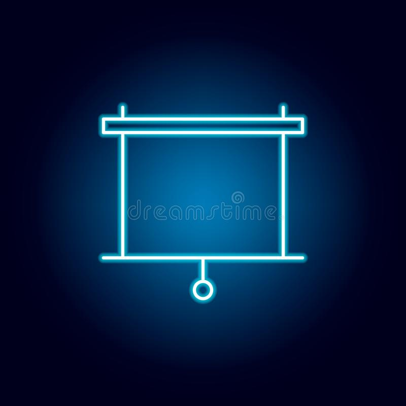 Screen, projector outline icon in neon style. elements of education illustration line icon. signs, symbols can be used for web,. Logo, mobile app, UI, UX on vector illustration