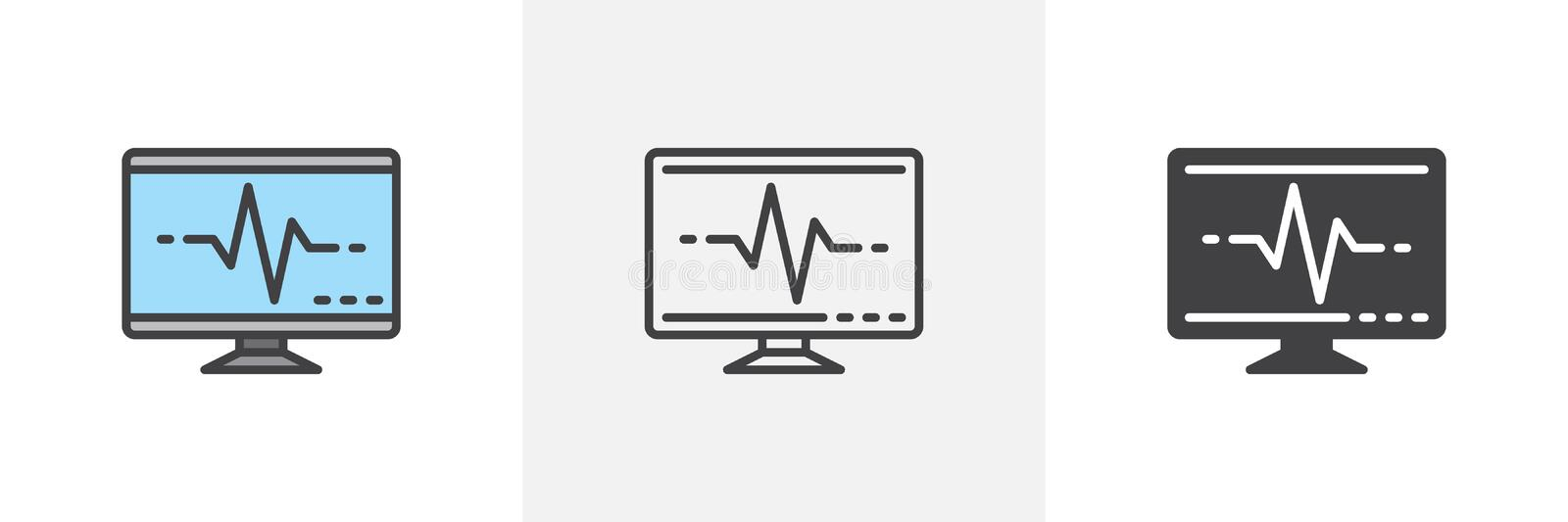 Screen with pulse icon. Line, glyph and filled outline colorful version, Cardiogram monitor outline and filled vector sign. Symbol, logo illustration vector illustration
