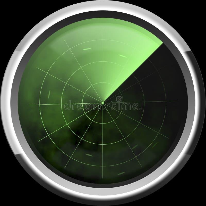 Screen of a radar in green tones stock illustration