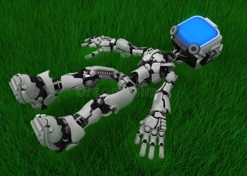Live Screen Robot, Grass Relax vector illustration