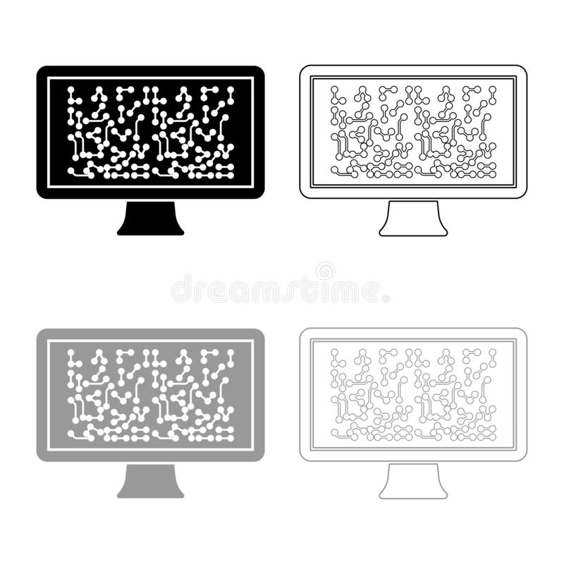 Screen with the scheme Technology concept icon outline set black grey color vector illustration flat style image. Screen with the scheme Technology concept icon royalty free illustration