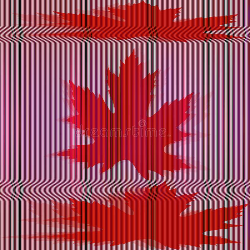Maple leaves and glitch effect. royalty free illustration