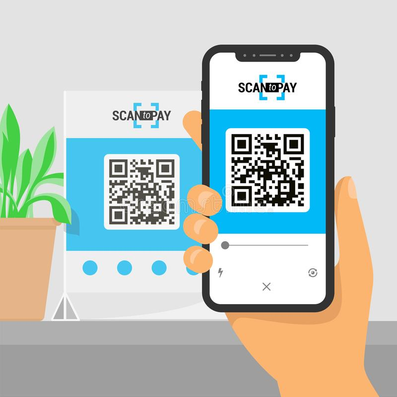 Screen smartphone with app in hand. Scanning qr code on table and online payment, money transfer. Illustration of flat royalty free illustration