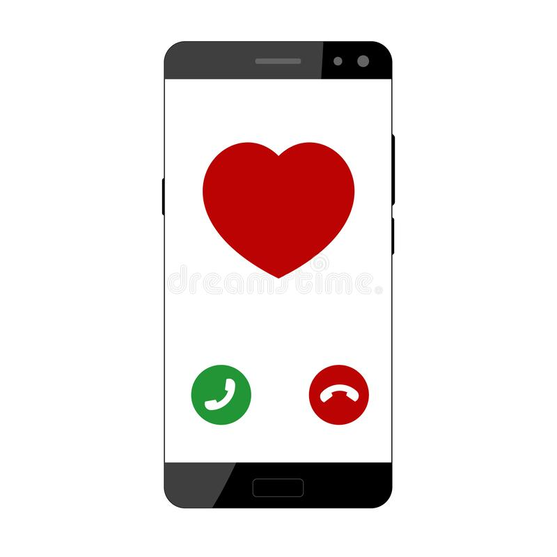 Screen of smartphone with incoming call. vector illustration