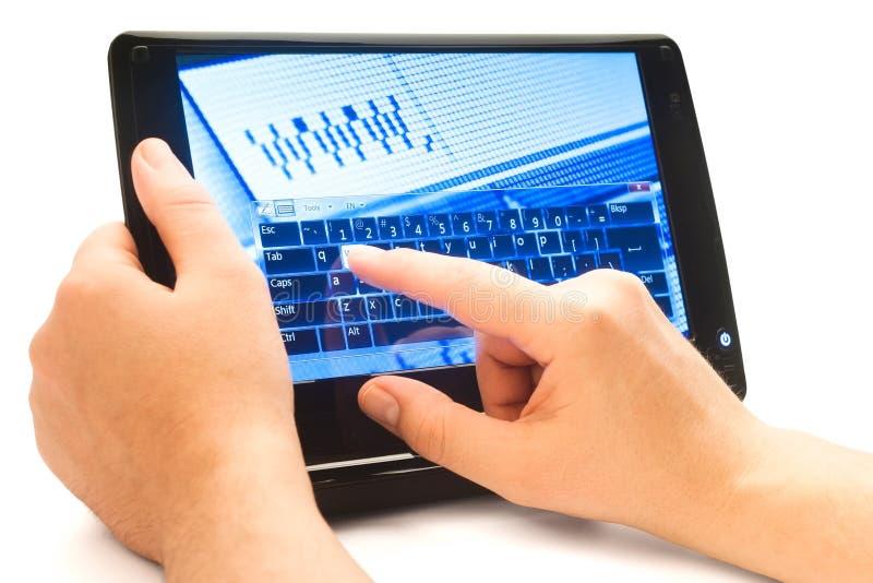 screen touchskrivande www arkivfoton
