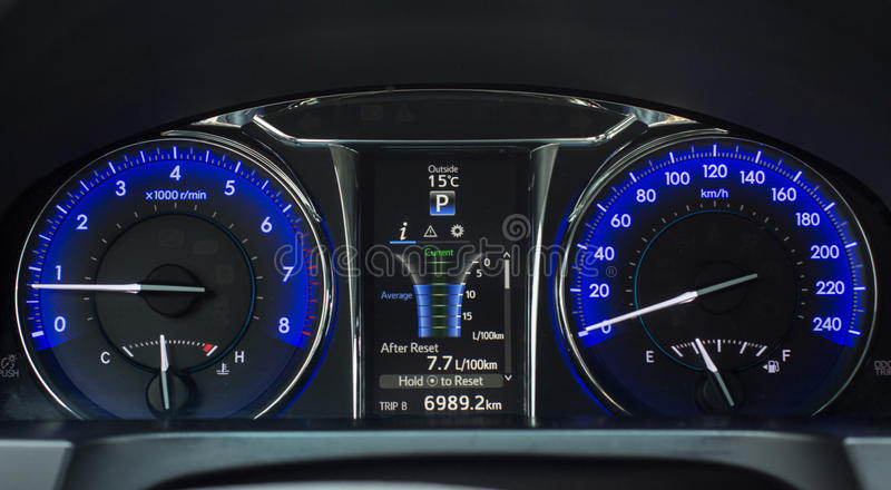 Screen with treap information on car dashboard. Screen with treap information on modern car dashboard stock images