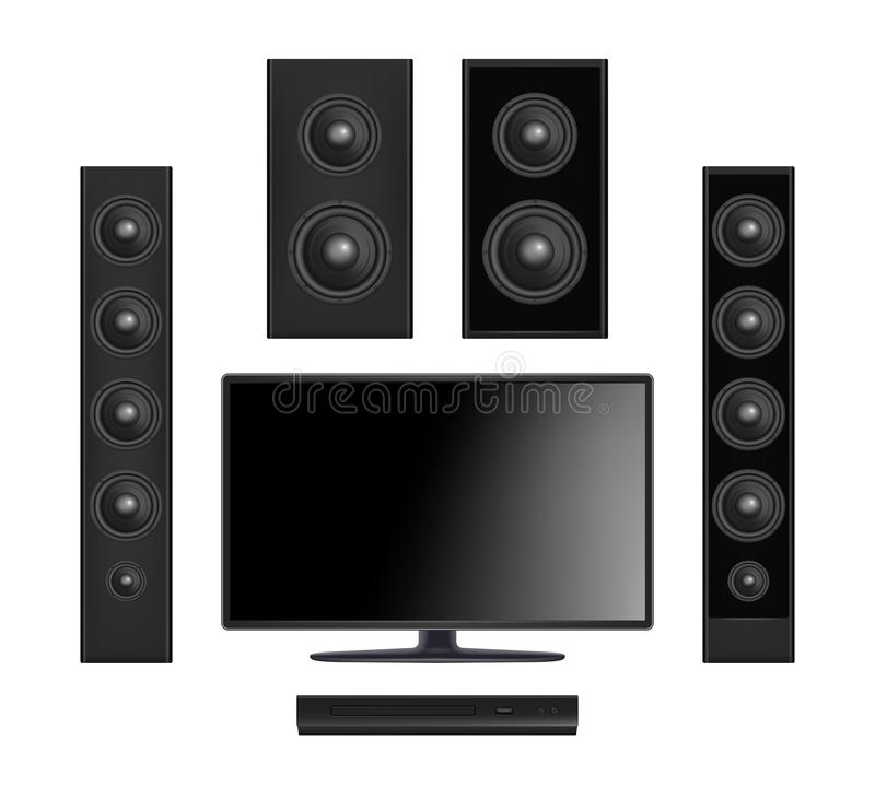 Screen tv. Flat plasma multimedia video system with console and sound speaker digital monitor vector realistic stock illustration