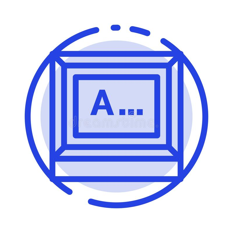 Screen, Typing, Text, Monitor Blue Dotted Line Line Icon stock illustration