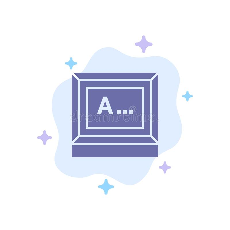 Screen, Typing, Text, Monitor Blue Icon on Abstract Cloud Background vector illustration
