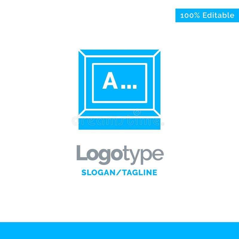 Screen, Typing, Text, Monitor Blue Solid Logo Template. Place for Tagline vector illustration