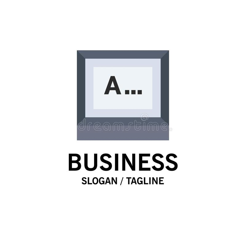 Screen, Typing, Text, Monitor Business Logo Template. Flat Color royalty free illustration