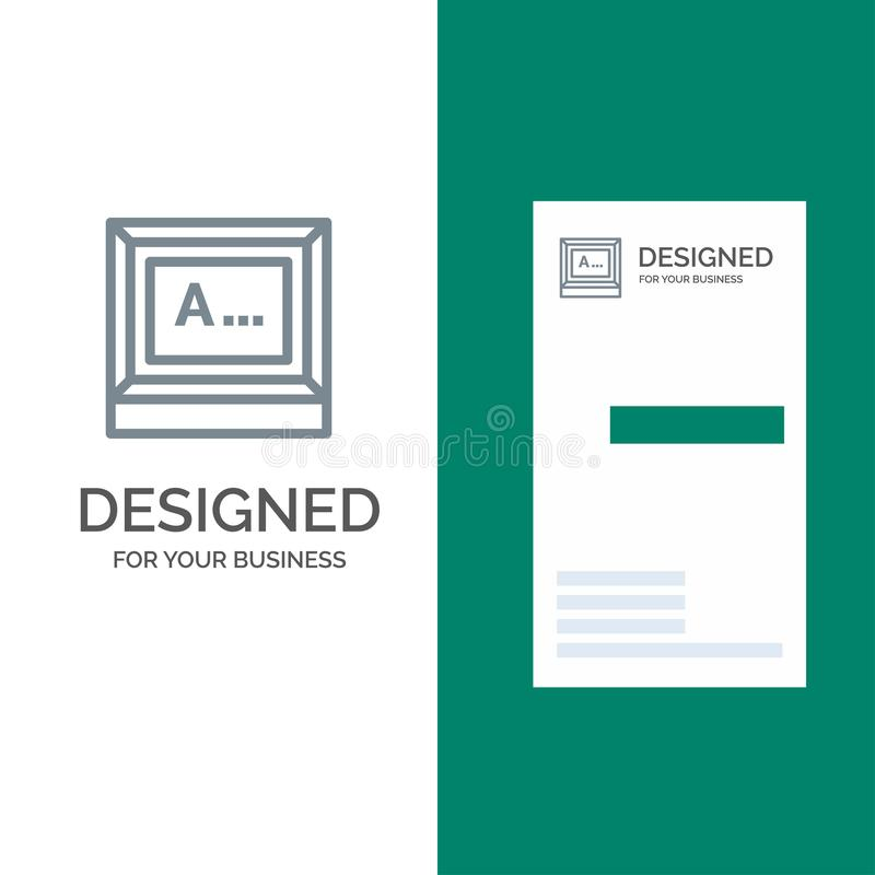 Screen, Typing, Text, Monitor Grey Logo Design and Business Card Template vector illustration