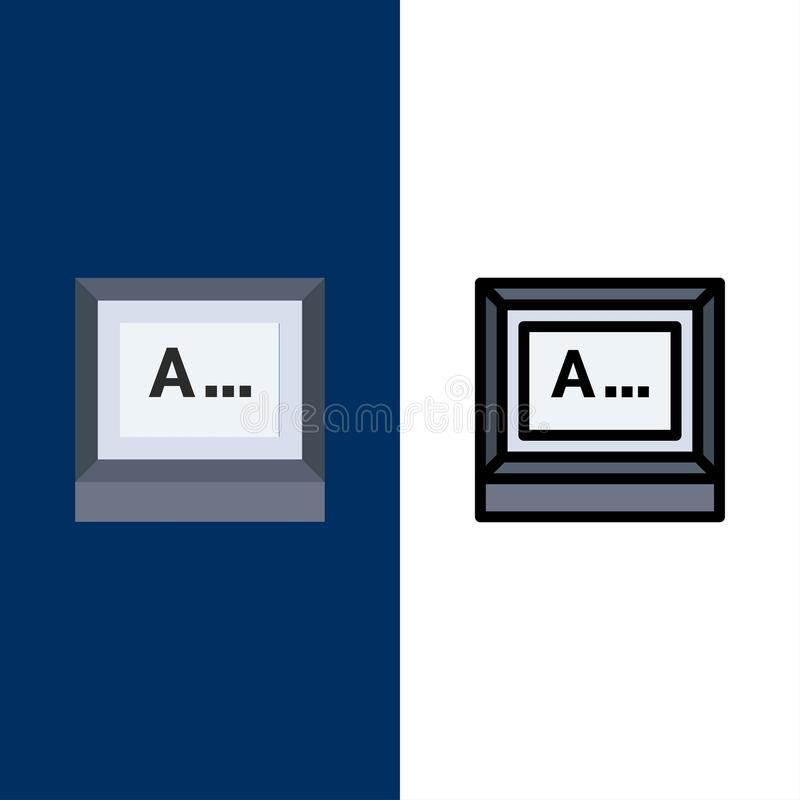 Screen, Typing, Text, Monitor  Icons. Flat and Line Filled Icon Set Vector Blue Background stock illustration