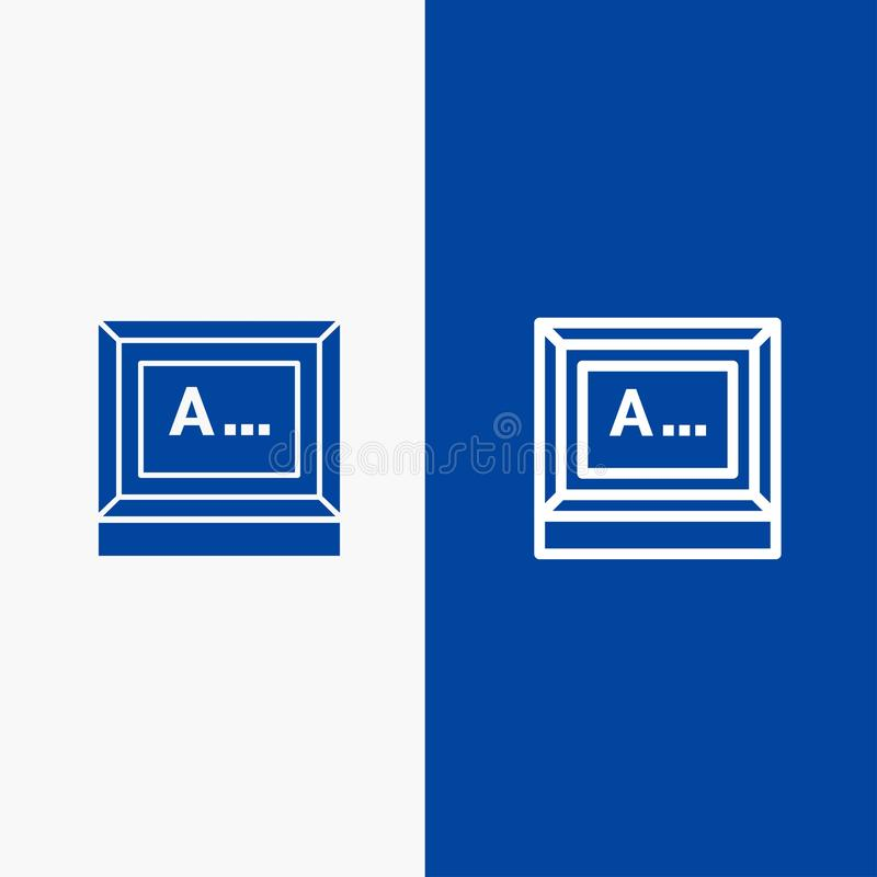 Screen, Typing, Text, Monitor Line and Glyph Solid icon Blue banner Line and Glyph Solid icon Blue banner stock illustration