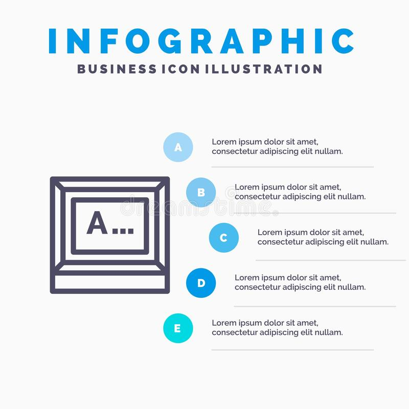 Screen, Typing, Text, Monitor Line icon with 5 steps presentation infographics Background royalty free illustration